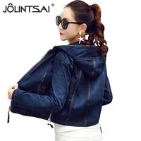 2018 Fall New Hooded Denim Jacket Women Casual Loose Jeans Jacket Female Short Coat Womens Basic Jackets chamarras de mujer
