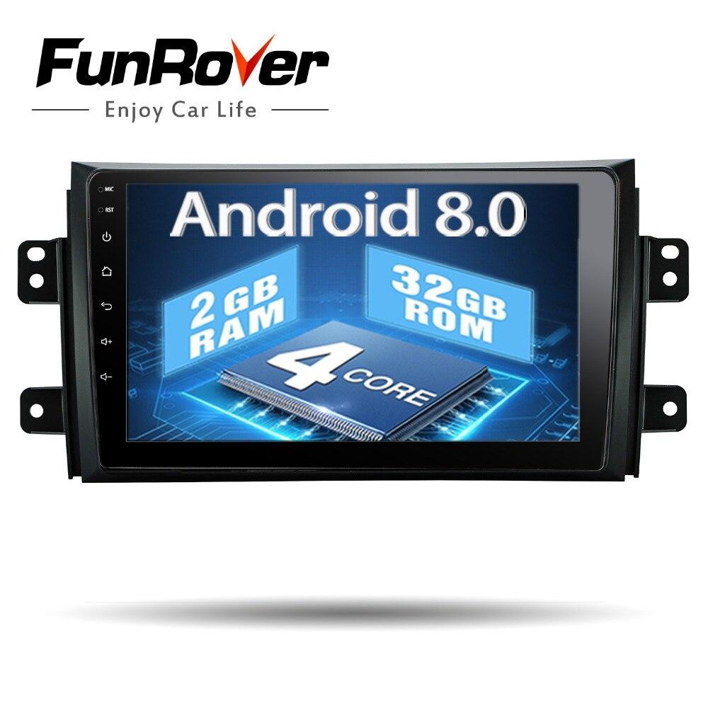 Funrover 9 pouce Android 8.0 Voiture DVD GPS lecteur Multimédia pour SUZUKI SX4 SX-4 2006-2013 Navigation Stéréo Radio bande wifi usb FM