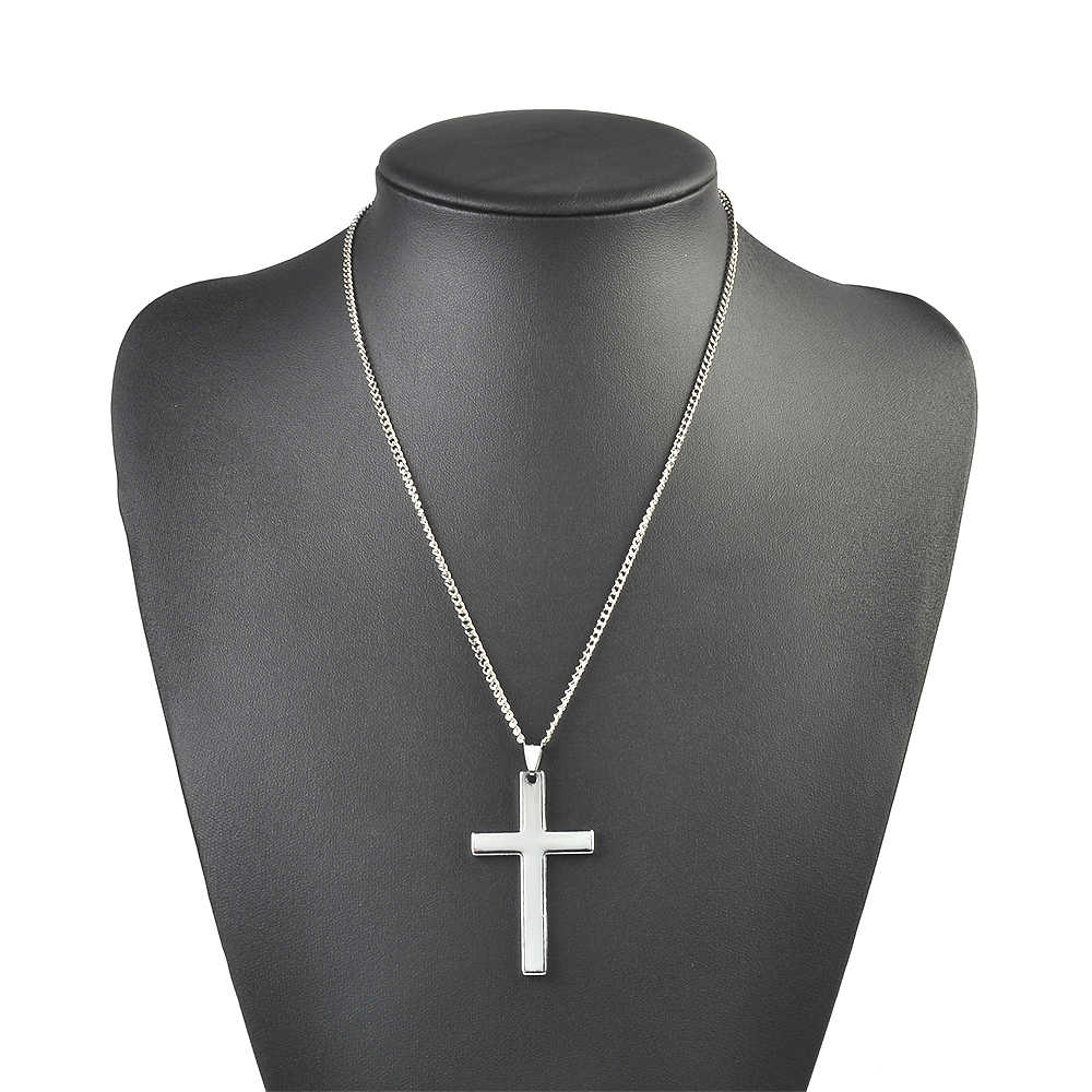 Hip Hop style Men black,silver,gold Cross Pendant Necklace Religious Stainless Steel Link Chain Necklace Statement Charm Jewelry