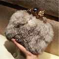 New Luxury handbags Skull Evening Clutch Bag Rabbit Fur women Handbag Ring Knuckle Clutch Bag Chain One Shoulder Day Clutch 1097