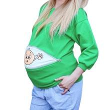 Женская толстовка для беременных и детей; Забавный пуловер на молнии для беременных; осенне-зимний свитер с длинными рукавами для беременных
