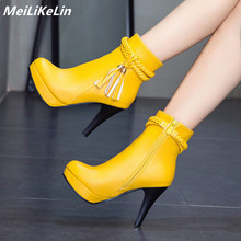 Fashion Street style braid Solid women ankle heeled platform boots round toe spike heel yellow boots woman tassel Autumn Boots block heeled round toe ankle boots