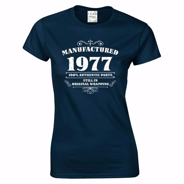2018 Womens 40th Birthday T Shirt Manufactured 1977 Tee Shirts Gifts Funny Angel Hot Sale 100 Cotton