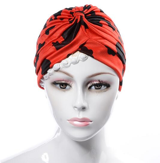 Women Hats Spring Color Print Flower Scarf Cap Muslim Indian Hat Women Ruffle Turban New 2017 Beanie Head Wrap Chemo Caps Hat women s hat muslim flowers decorated beanies scarf cap two color fashion flower hat famous winds tight adjustment female hat