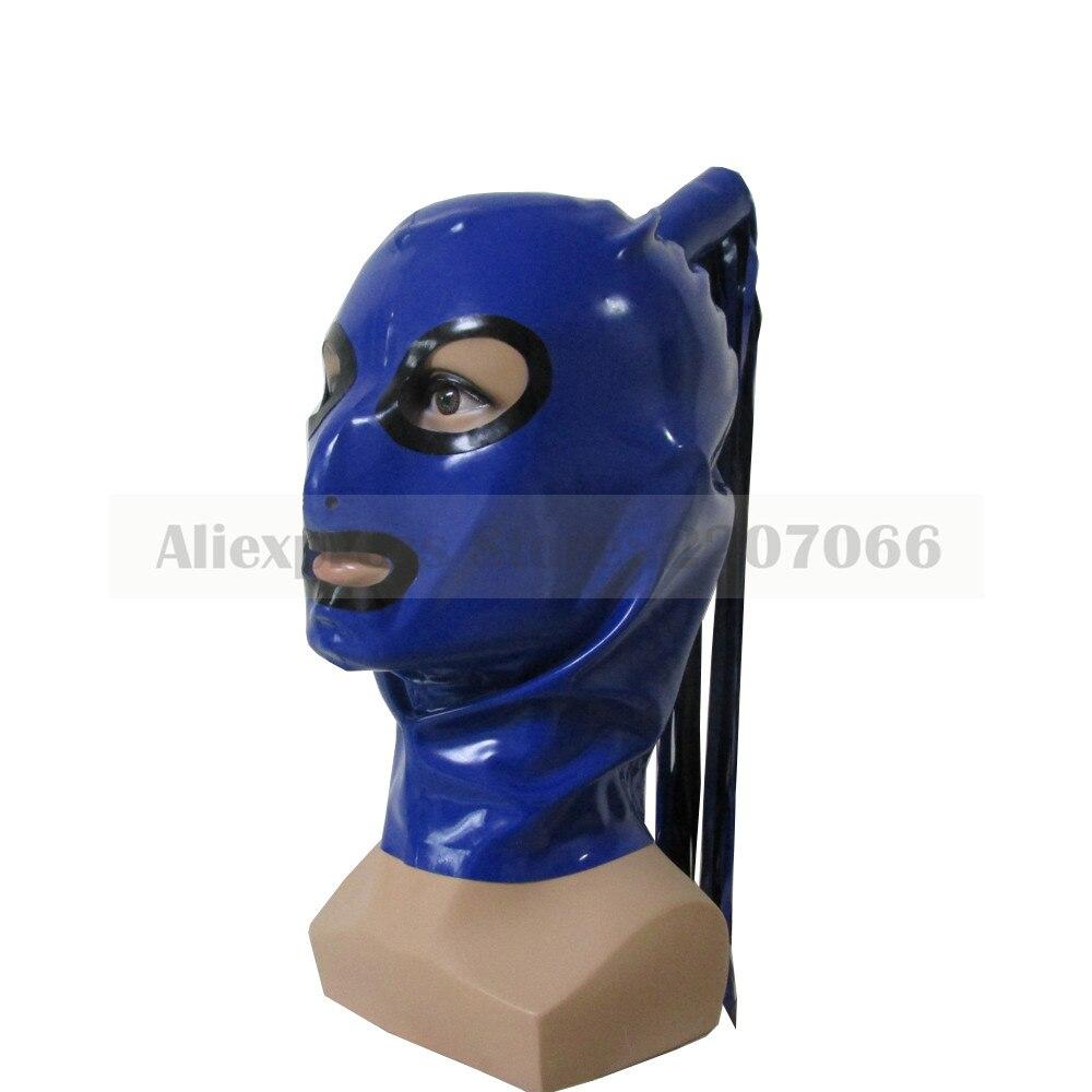Hottes en Latex exotique fait à la main chaud fétiche masque héroïne capuche femmes couvre-chef taille personnalisée avec une perruque RLM070