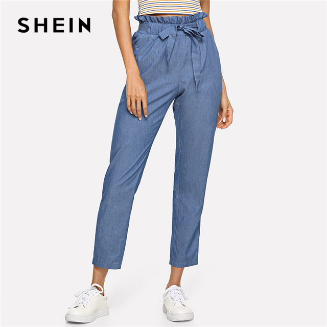 c573448572 SHEIN Blue Weekend Casual Belted Ruffle Mid Waist Straight Leg Solid Pants  Summer Women Going Out