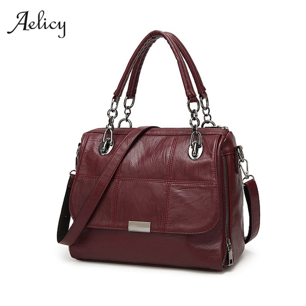 Aelicy 2018 Women Messenger Bags High Quality PU Leather Women's Shoulder Bag Vintage Shoulder Bag Black/wine red/Gray 0914 casual shoulder crossbody bags for women 2018 pu leather shoulder bag black gray red fashion simple womens bag high quality