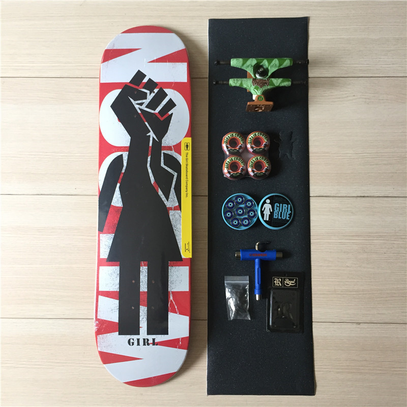 Pro Skateboard Deck Trucks Wheels & Bearings Mixed Complete Skate Set Plus Riser Pad Hardware Set & Installing Tool