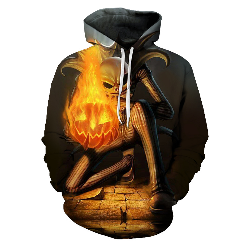 2018 Jack skellington fire pumpkin 3D Hoodies Sweatshirts Tracksuits Drop Shipping Comic Hooded Pullover Brand Hoodie