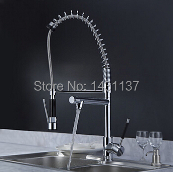 Best Quality Hot Sale Chrome Brass Kitchen Faucet Dual Spout Swivel Bar Vessel Sink Mixer Tap Deck Mounted spring kitchen faucet swivel spout chrome brass kitchen faucet dual sprayer vessel sink mixer tap hot and cold water