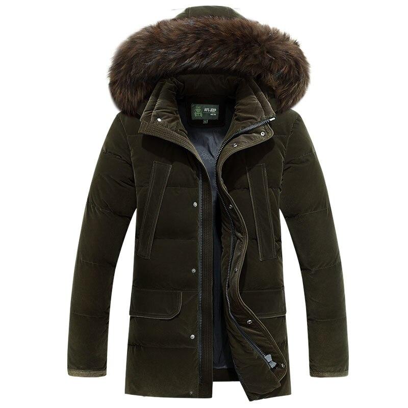 AFS JEEP Russia Winter Jacket Men -40 degree Long Thicken Warm   Down   Jacket Men Medium Length Fur Collar White Duck   Down     Coat