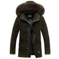 AFS JEEP Russia Winter Jacket Men 40 degree Long Thicken Warm Down Jacket Men Medium Length Fur Collar White Duck Down Coat
