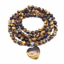 Beadztalk женские браслеты ожерельлье для йоги 6 мм бусины тигровый