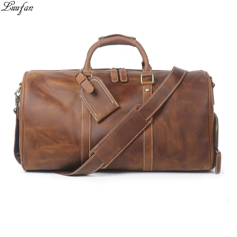 Vintage Big Capacity Men Cow Leather Travel Bag Durable Genuine Leather Tote Travel Duffel Large Overnight