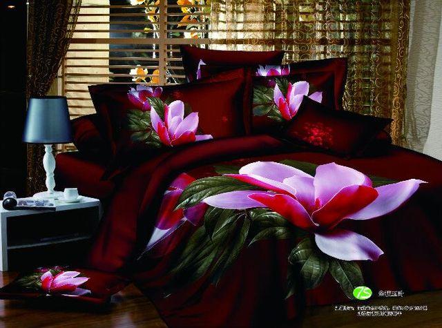 100%Cotton 3D Floral Bedding Set Queen King size Bed sheet set Duvet cover Fitted sheet Bedlinen parrure de lit ropa de cama