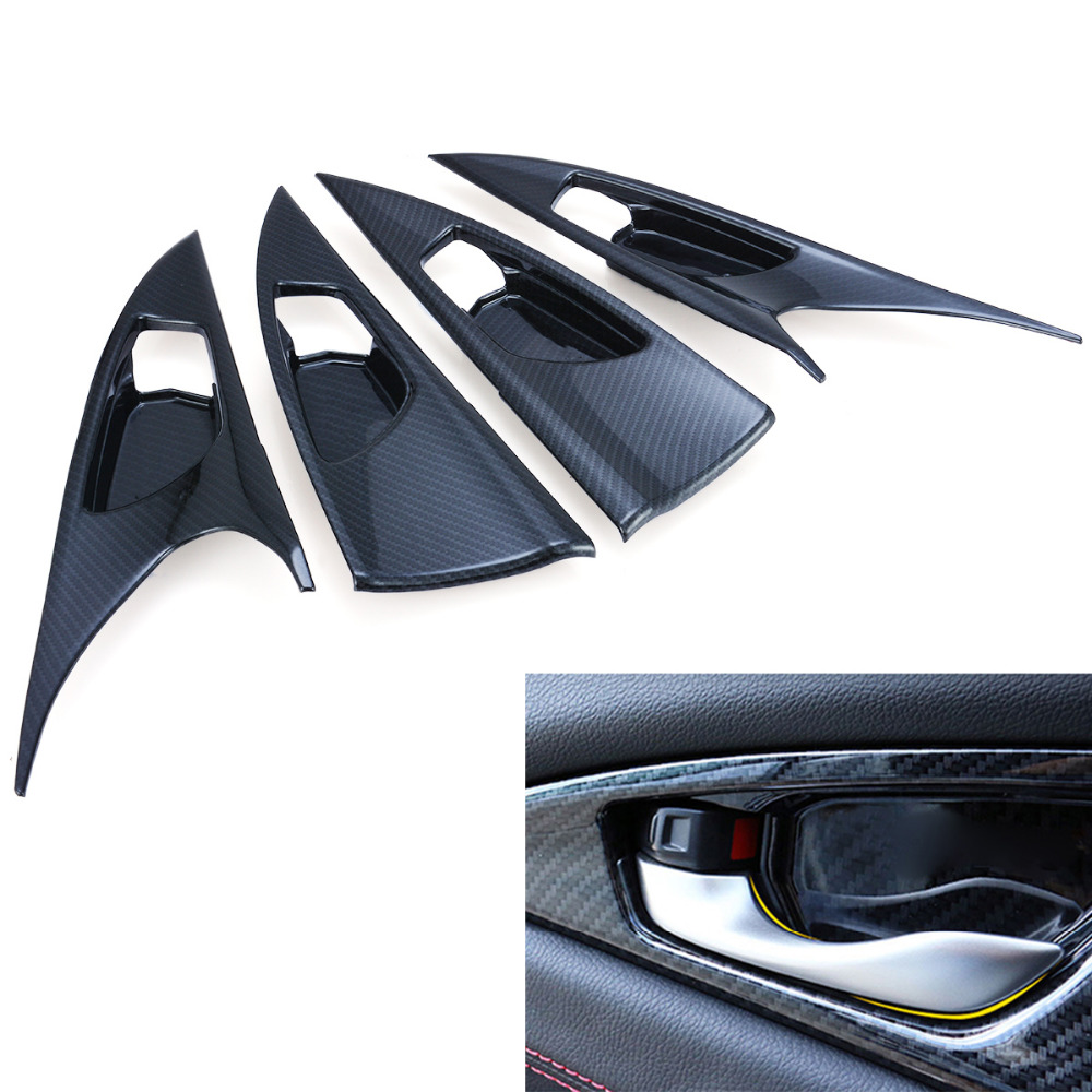 Car Styling 4pcs Carbon Fiber Style Inner Door Handle Bowl Panel Cover For Honda Civic 10th Sedan 2016 2017 Hatchback 2017 carbon fiber car leather car central armrest console cover for honda civic 10th 2016 2017 2018 accessories