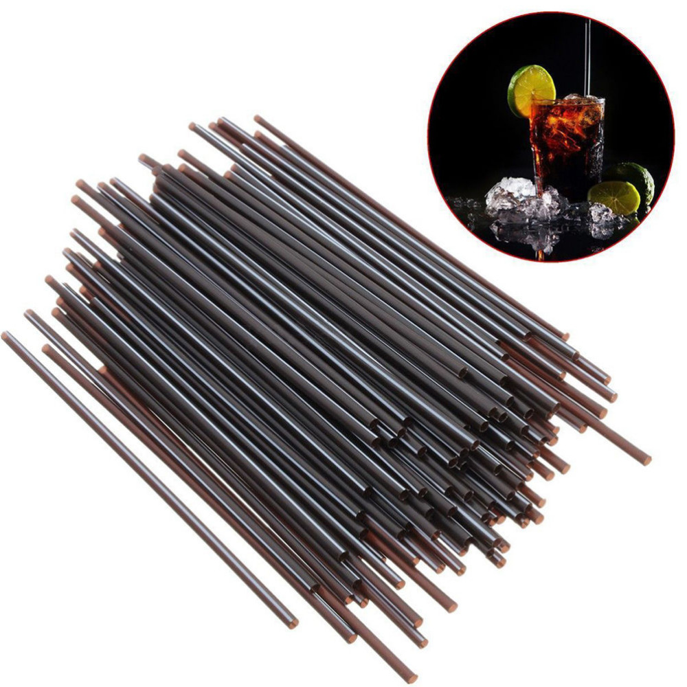 Disposable Party Tableware Just 100pcs/lot Plastic Cocktail Straws Birthday Wedding Party Supplies Event Drinking Straws Dia 3mm Bar Accessories Black Color Demand Exceeding Supply Home & Garden