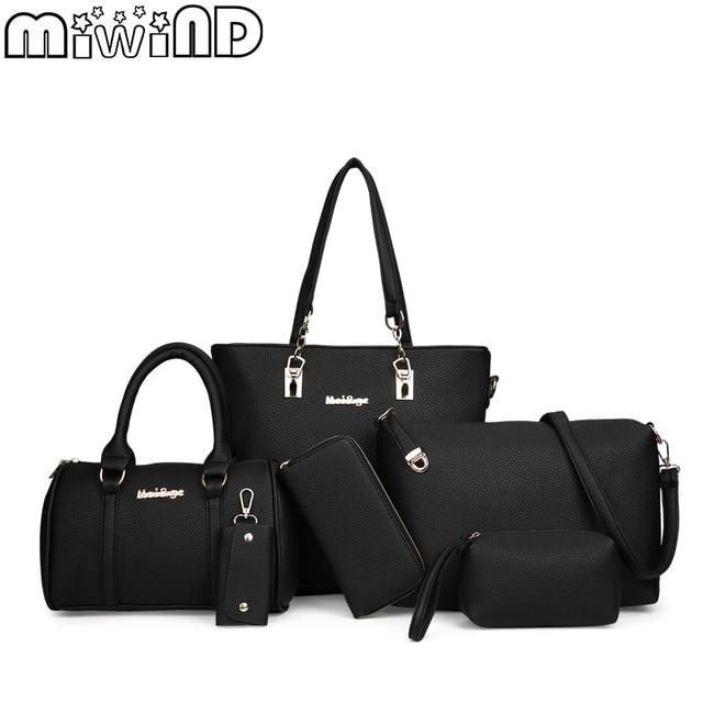 MIWIND 2020 New Female Shoulder Bags Fashion Women Bag High Quality PU Leather Womens Handbags 6 Piece Set Composite Bag