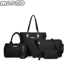 MIWIND 2020 ใหม่ไหล่หญิงกระเป๋าแฟชั่นผู้หญิงคุณภาพสูงPUหนังกระเป๋าถือสตรีชุด 6 ชิ้นกระเป๋าคอมโพสิต