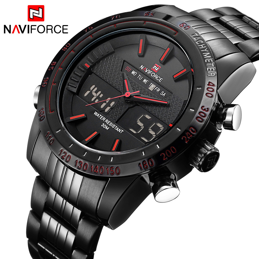 Naviforce الأصلي الفاخرة المقاوم للصدأ الكوارتز الرجال الرقمية led ساعة العسكرية الرياضة ساعة اليد relogio masculino