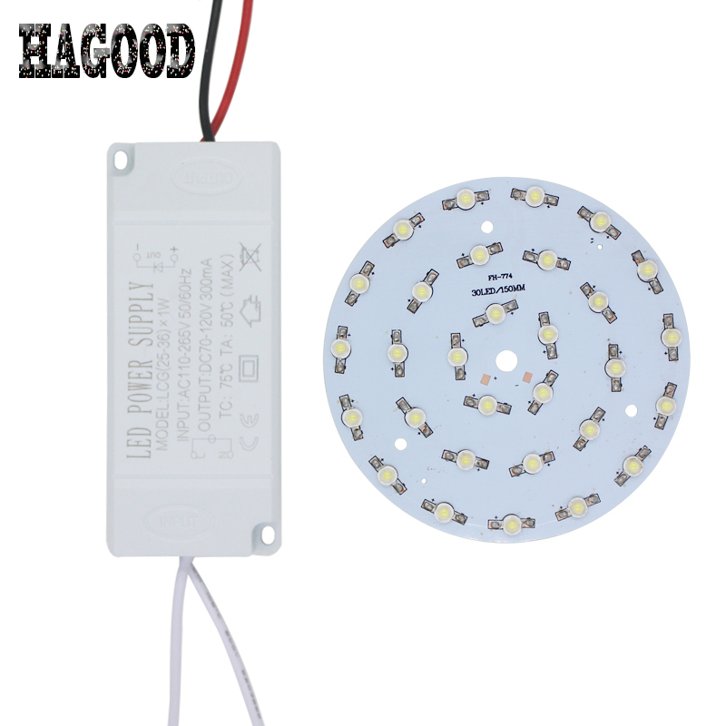 1 set 1W3W5W7W9W12W15W18W21W24W30W36W LED spot light Star high power chip board panel bulb+LED plastic shell power supply driver