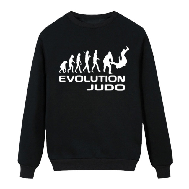 New winter casual Evolution Of Judo Funny Adult Men Cotton High-quality long Sleeve Rap Fleece Hoodies Sweatshirt