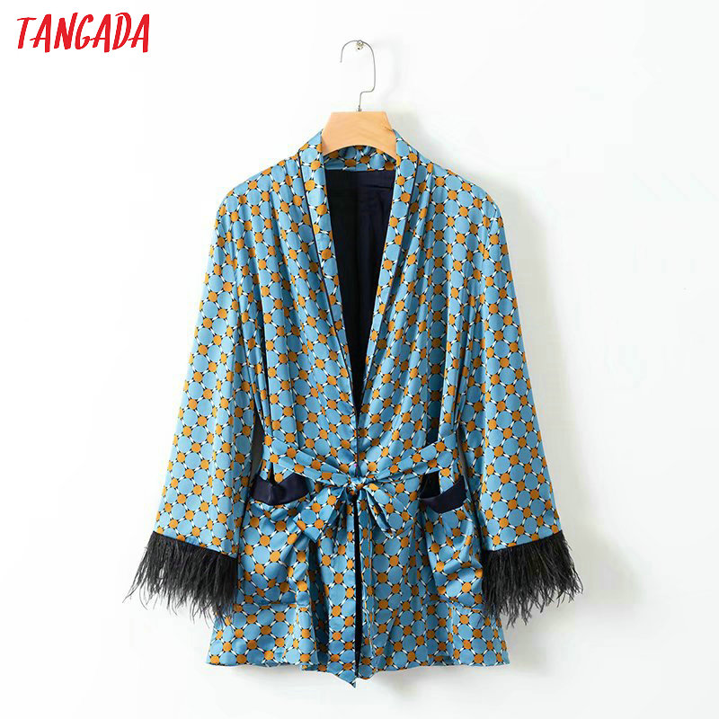 Tangada Women Feathers Patchworks Suit Blazer Fashion 2019 Long Sleeve Ladies Geometric Print Blazer Female Office Coat XD312