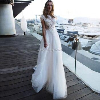 A Line Beach Wedding Dresses Cap Sleeves Open Back Lace Appliques Wedding Bridal Gown Tulle Short Sleeves Vestido De Noiva
