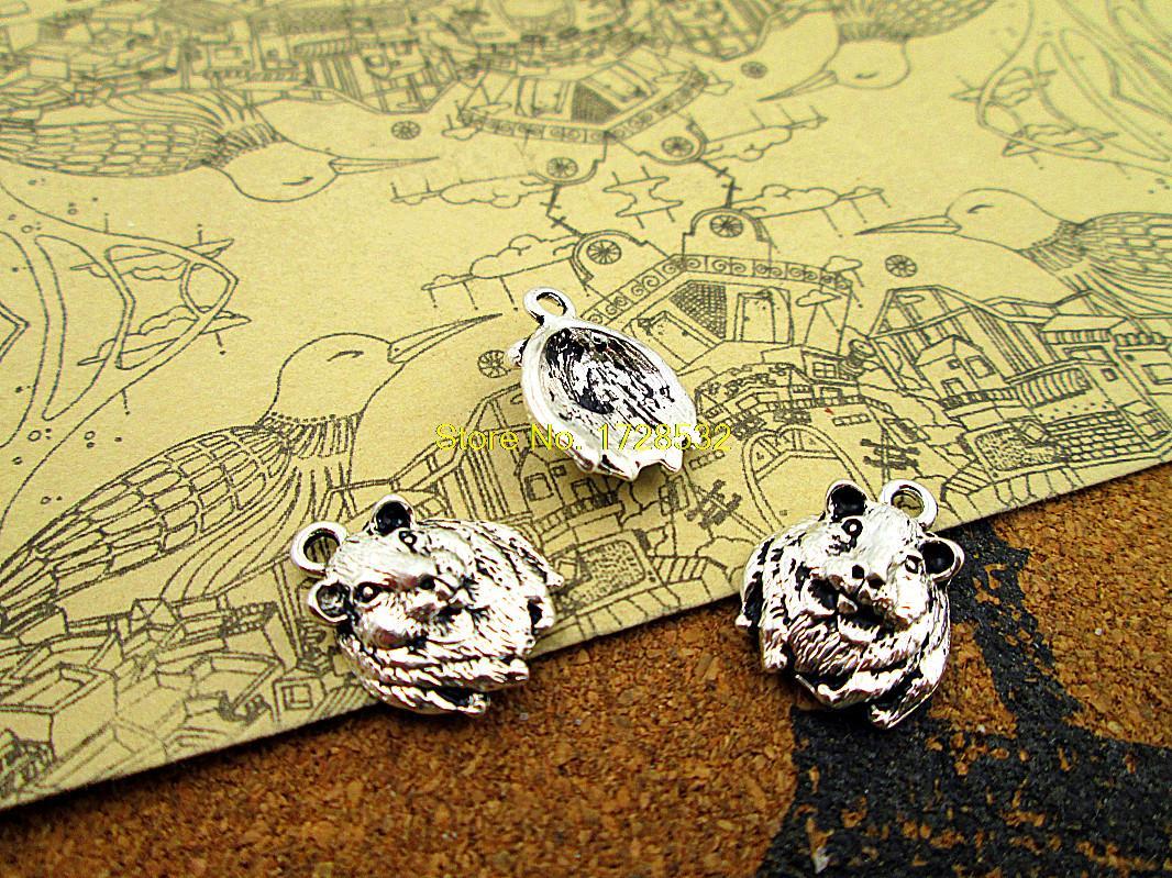 Pcs-hamster Cobaia Gerbil Encantos Antigo Tibetano Prata Charme Pingentes 14x18mm 100 ou