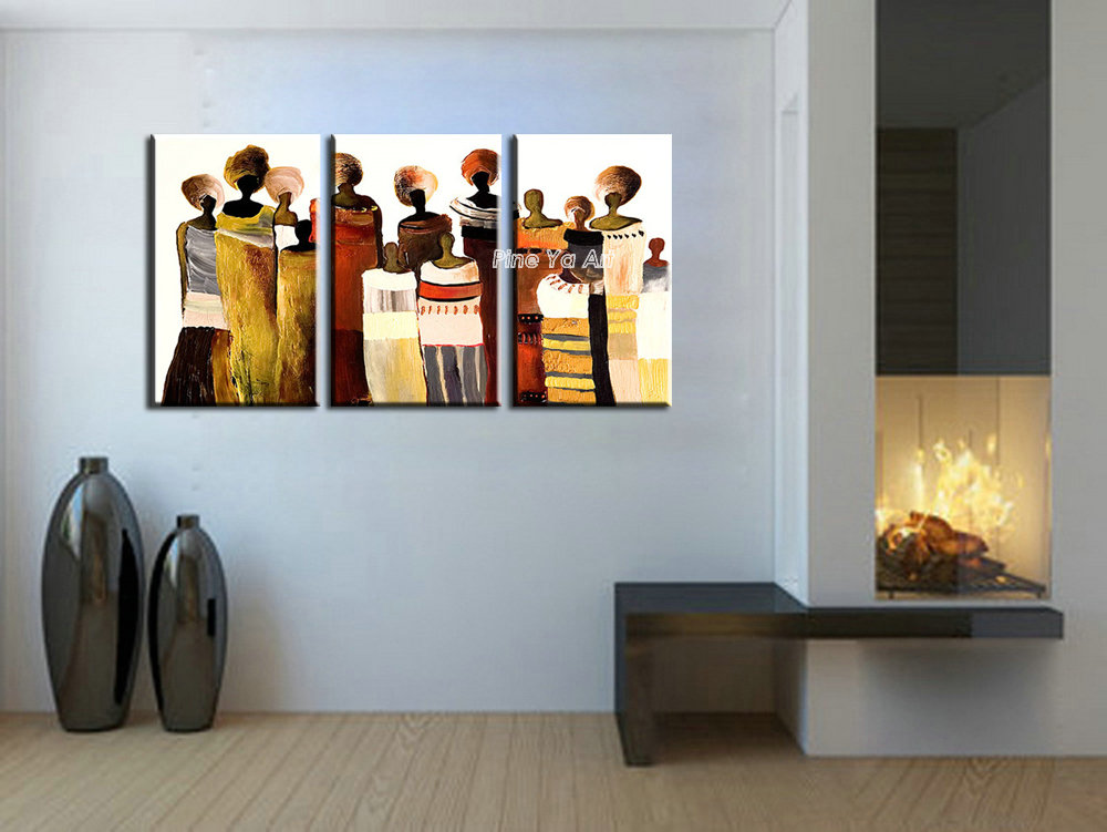3 panel abstract hand painted decorative canvas wall art