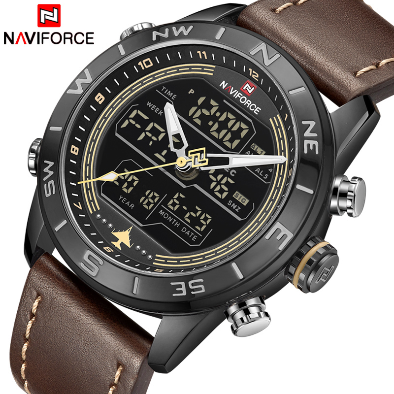 цена NAVIFORCE Luxury Brand Mens Fashion Sport Watches Men Quartz Analog Digital Clock Leather Army Military Watch Relogio Masculino