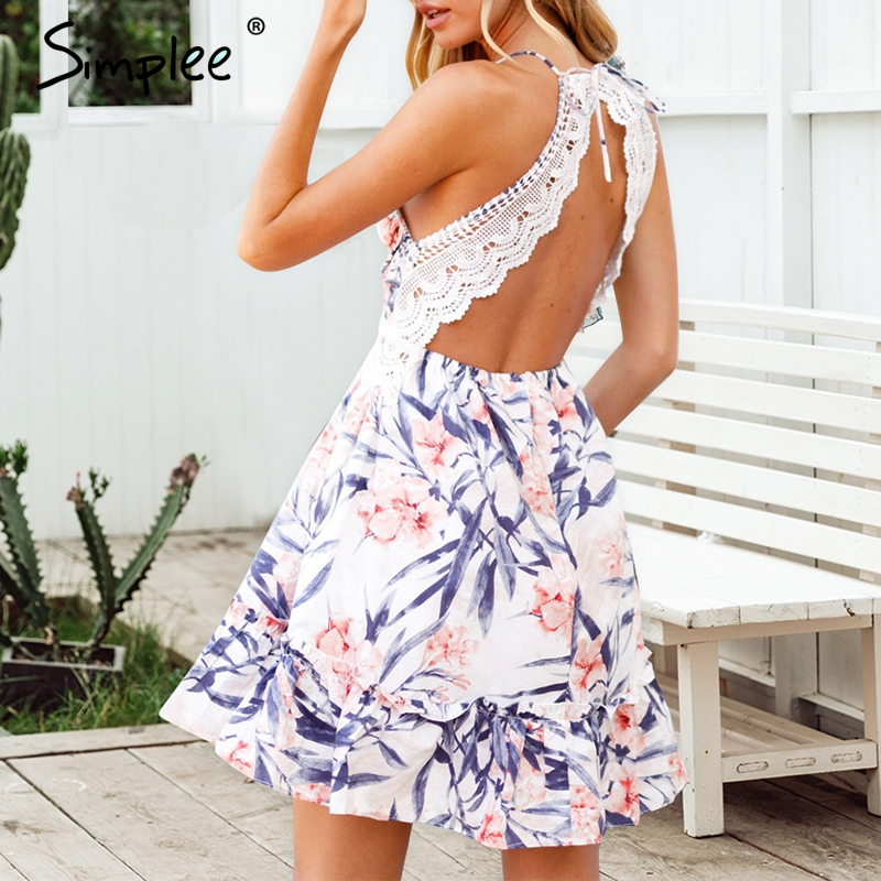 Simplee Floral Print Backless Mini Dress S19DR2110