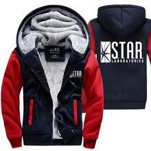 Gorąca sprzedaż bluzy mężczyzn 2018 Winter Warm ocieplana bluza S.T.A.R. STAR labs Print Fashion Streetwear kurtka na płaszcz męski z kapturem