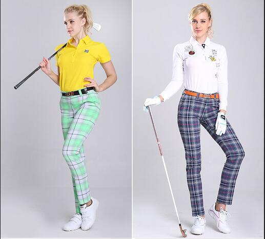 PGM womens plaid pants quick-drying ladies fashion fit sport golf dress clothes trousers quick-dry pantalones mujer Women