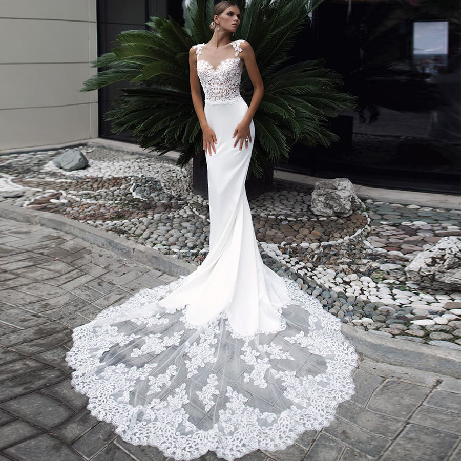 ADLN Sexy Mermaid Wedding Dress Long Lace Train Cap Sleeve Applique Long Wedding Gowns Vestidos De