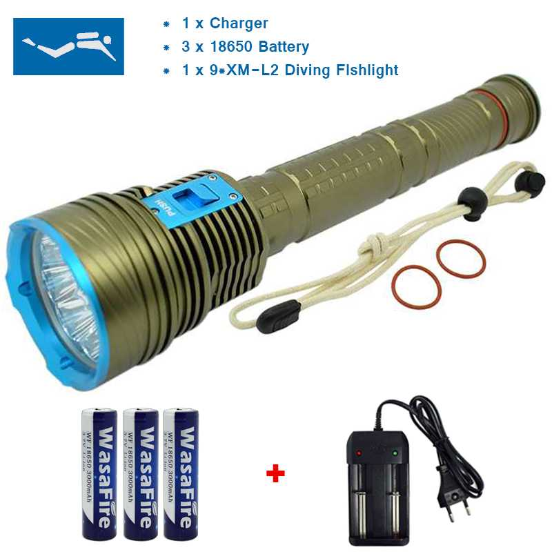 Waterproof Dive Torch Light 9 x XML L2 20000lm LED Diving Flashlight Underwater 150M Scuba Flashlights + 18650 Battery + Charger 100m underwater diving flashlight led scuba flashlights light torch diver cree xm l2 use 18650 or 26650 rechargeable batteries