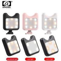 Портативный светодиодный светильник APEXEL для селфи  с зарядкой от USB и зарядкой от аккумулятора  заполняющий кольцевой светильник для всех т...