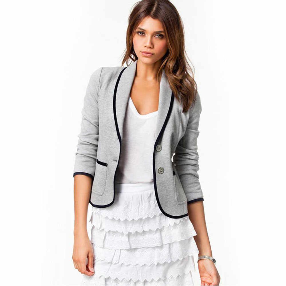 JAYCOSIN ファッションジャケット女性ビジネスコートブレザースーツ長袖スリムオフィスジャケット女性ブレザープラスサイズ生き抜く新