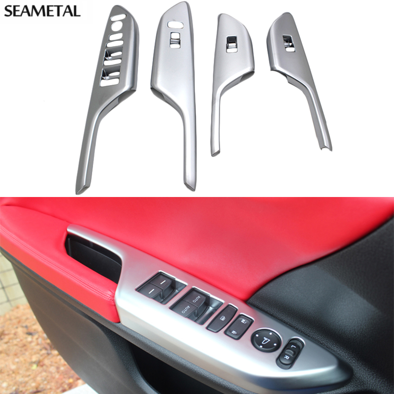 Car styling Chrome Accessory Window Switch Panel Car Interior Door ...