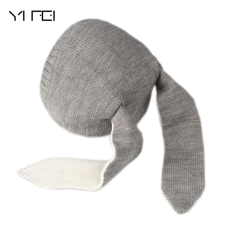 Thickening Children Hats Autumn Winter Rabbit Ear Knitting Hat Baby Wool Hats 0-5 Year Girl Boy Accessories Photography Props han edition spot qiu dong the day han2 ban3 girl gradient fashionable joker knitting wool hat