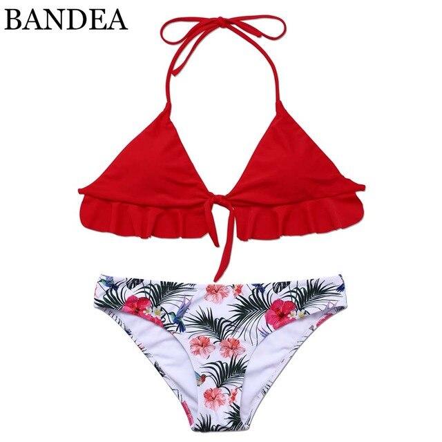 cc48ecb9a432 BANDEA 2017 sexy bikini set brand swimwear women padded bikini red flower  print swimsuit brazilian halter trajes de bano KM542-in Bikinis Set from ...