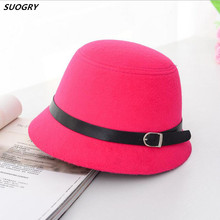 SUOGRY Женские однотонные шерстяные фетровые Клош шляпы черные красные фетровые шляпы винтажные западные Панамы для женщин женские Котелки с ремнями