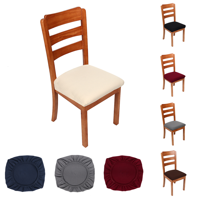 2/4/6 Pcs Kitchen Stretch Dining Chair Cover Spandex Jacquard Seat Protector Covers  Elastic Seat Case Living Room Slipcover