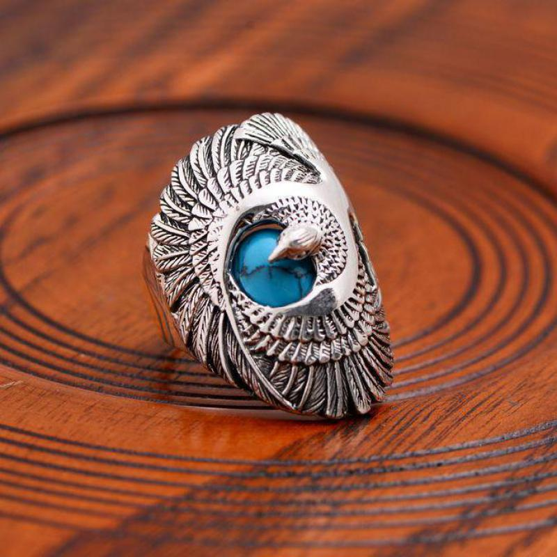 925 Sterling Silver Jewelry Mens Ring Vintage Style Eagle Wings Blue Natural Stone Ring Male Fine Jewelry-in Rings from Jewelry & Accessories    2
