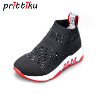 Spring 2018 Toddler Girl Boy Knitted Studded Glitter Sock Boots Little Kid Fashion Sneakers Children Casual School Walking Shoes