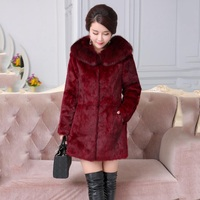 Real Rabbit Fur Coats For Women With Natural Fox Fur Collar Full Pelt Middle Long Jacket