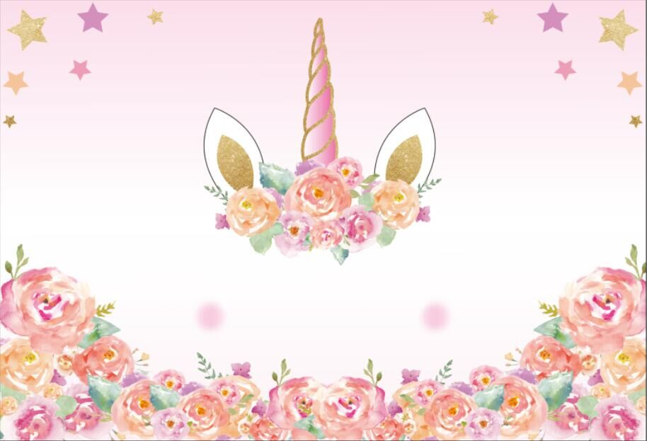 5x7ft Light Pink Flowers Unicorn Mask Face Stars Baby