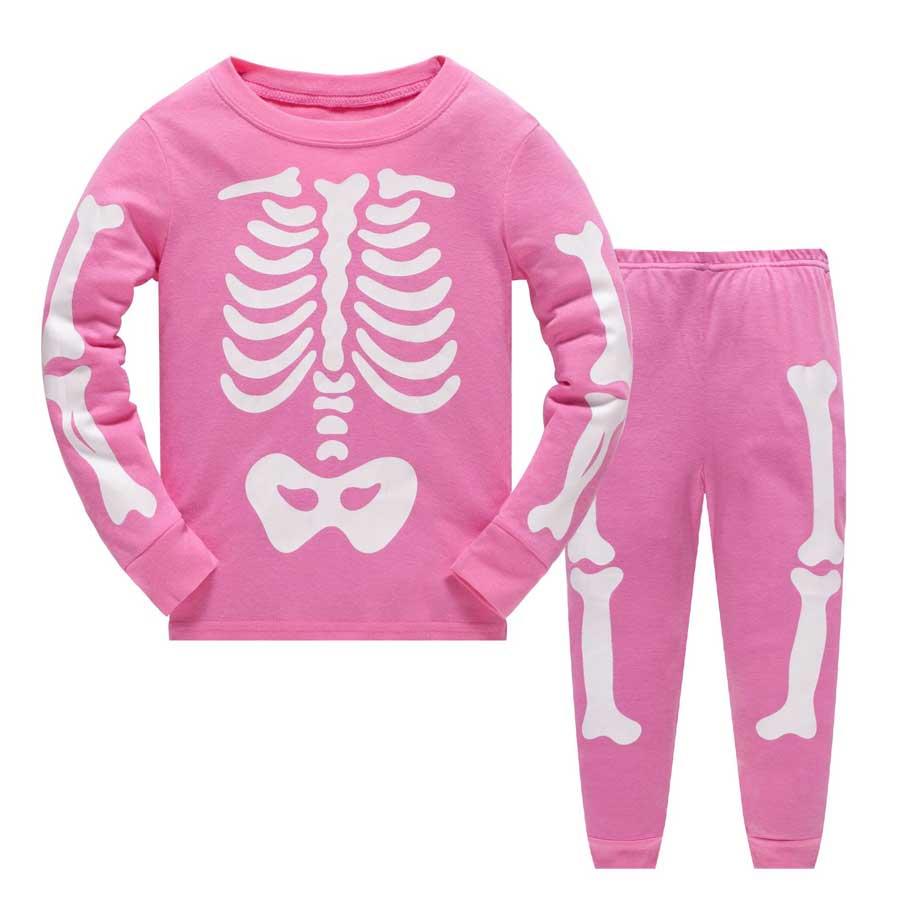 все цены на kids pajama Halloween Noctilucent Bone Pajama Set 2pcs Cottn pyjamas kids Print Nightwear Infant Sleepwear Clothing Suit