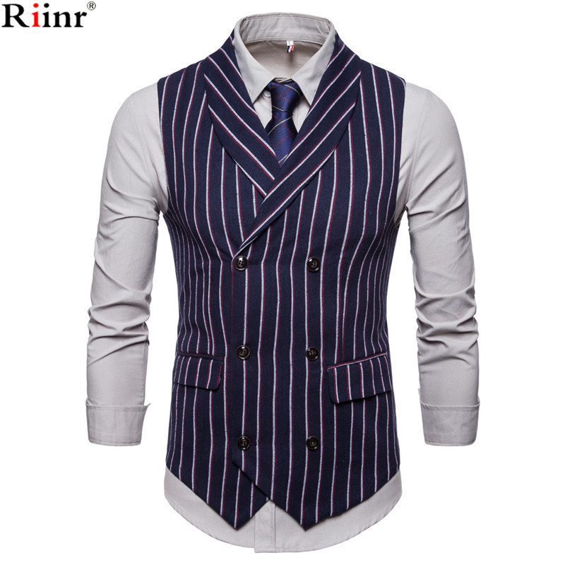 Riinr 2018 Autumn Men Striped Vests Causal Double-breasted Mens Suit Vest Vintage Wedding Waistcoat Men's Suit Vest Wedding Vest