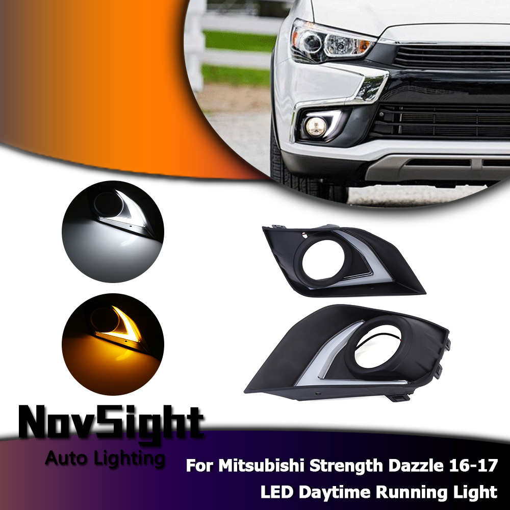 NOVSIGHT LED White Car Daytime Running Light Lamp DRL With Yellow Turn Light For Mitsubishi Strength Dazzle 16-17 D20 2pcs car led turn signals drl headlight canbus kit 1156 daytime running front light yellow white turn signal lamp